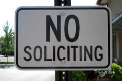 No Soliciting Sign. A sign forbidding soliciting on the premises Royalty Free Stock Photos