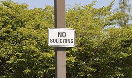No Soliciting Sign Stock Images