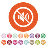 The no sound icon. Volume Off symbol. Flat Royalty Free Stock Photos