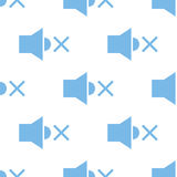 No sound seamless pattern. No sound white and blue seamless pattern for web design. Vector symbol Royalty Free Stock Photos