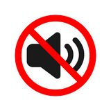 No sounds allowed sign. Icon Royalty Free Stock Photography