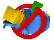 No spam concept. Overflowing blue mailbox with yellow mails Royalty Free Stock Images