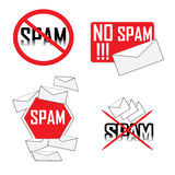 No spam icons. A variety of different no spam icons against white background Royalty Free Stock Photography