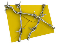 No spam or mail security concept. Yellow letter with barbed wire Royalty Free Stock Photo