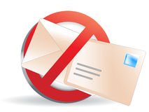 No spam, please!!. An illustration of a crossed-out envelope; no spam illustration Stock Photography