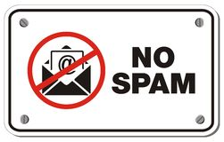 No spam rectangle sign. Suitable for warning sign Royalty Free Stock Photography