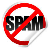 No spam sticker. Word spam and prohibition sign on sticker Stock Photos