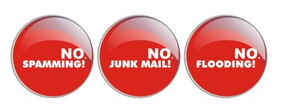 No spamming, no junk, no floding. Red warning buttons of no-flooding, no junk mail, no flooding isolated with white background Stock Photo