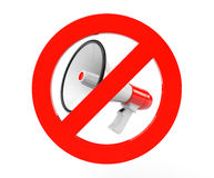 Megaphone with red not allowed sign Stock Image