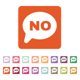 The NO speech bubble icon. Social network and web communicate symbol. Flat Royalty Free Stock Images