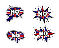 No Speech Bubbles. Fashion Patch Badge British Expressions, No Speech Bubbles. Set of No Stickers, Pins in Cartoon Comic Style royalty free illustration
