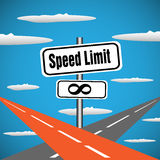 No speed limit plate. Abstract colorful background with two highways intersecting in the skies. No speed limit concept Stock Image