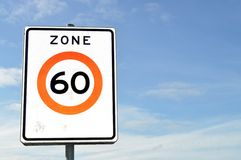 No Speed Limits. White sign, 60 km/h speed limits Stock Images