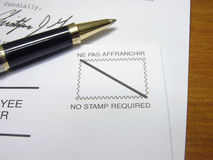 No stamp. Envelope with no stamp required, focus on the stamp Stock Image