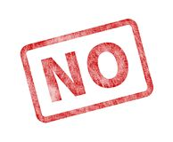 No Stamp - Red Grunge Seal. Rubber stamp isolated on white background Stock Image
