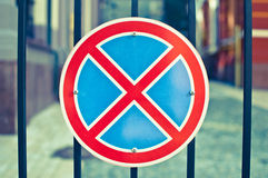 No standing. Road sign, traffic sign, way, traveling, parking Stock Image