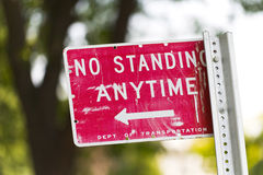 No standing anytime sign Stock Photography