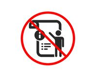 Manual doc icon. Technical instruction sign. Vector. No or Stop. Manual doc icon. Technical instruction sign. Prohibited ban stop symbol. No manual doc icon vector illustration