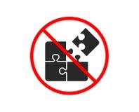 Puzzle icon. Engineering strategy sign. Vector. No or Stop. Puzzle icon. Engineering strategy sign. Prohibited ban stop symbol. No puzzle icon. Vector stock illustration