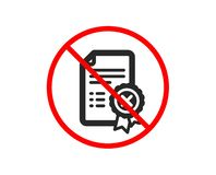 Reject certificate icon. Decline document sign. Vector. No or Stop. Reject certificate icon. Decline document sign. Wrong file. Prohibited ban stop symbol. No vector illustration
