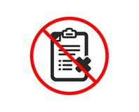 Reject checklist icon. Decline document sign. Vector. No or Stop. Reject checklist icon. Decline document sign. Delete file. Prohibited ban stop symbol. No vector illustration