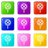 No stopping and parking sign set 9. No stopping and parking sign icons of 9 color set isolated vector illustration Stock Image