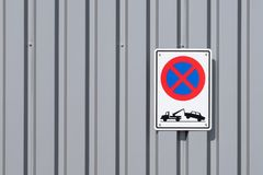 No Stopping Tow Truck Road Sign royalty free stock photo
