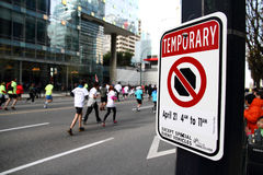 No Stopping of Vehicles at 2013 Vancouver Sun Run. VANCOUVER, CANADA - April 21, 2013 -A no stopping sign telling traffic they can not stop here specifically on stock photography