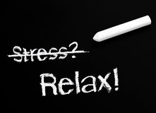 No Stress Chalk and Blackboard Royalty Free Stock Photo
