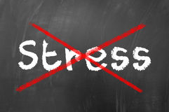 No stress concept. Written with chalk on blackboard Stock Photography