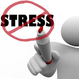 No Stress Man Draws Slash to Reduce Stressful Anxiety. A person draws a circle and slash over the word Stress to symbolize the reduction or elimination of Royalty Free Stock Photos