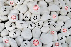 No stress written on white stones Stock Images