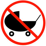 No strollers allowed. Baby buggy or stroller with not allowed symbol - baby strollers not allowed sign Stock Photo