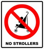 No strollers or pushchair,  illustration. No strollers or pushchair forbidden sign. Warning red prohibition symbol. Vector illustration isolated on white. Black Stock Images