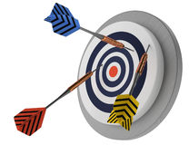 No success, missing the point, looser bad strategy, arrows target. Looser,  not lucky target three arrows, marketing hit try, white background 3D illustration Royalty Free Stock Photography