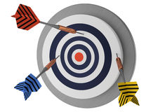 No success, missing the point, looser bad strategy, arrows target. Looser,  not lucky target three arrows, marketing hit try, white background 3D illustration Stock Photo