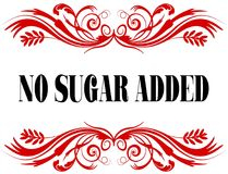 NO SUGAR ADDED red floral text frame. Illustration concept Royalty Free Stock Photos