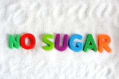 No sugar text on white refine sugar as background. No sugar text from plastic letters on white refine sugar as background Royalty Free Stock Photo
