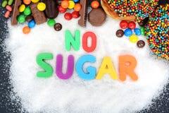 No sugar text written into a pile of white granulated sugar Stock Photos