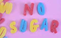 No Sugar words on pink table Stock Images