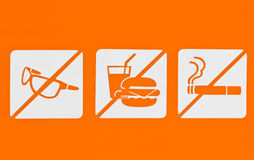 No Sunglass No Food No Smoking. Royalty Free Stock Photography