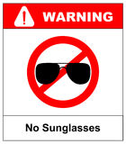 No sunglasses sign. No aviator red prohibition circle icon on white background. Not allowed symbol. Forbidden entry. Ban Royalty Free Stock Photography