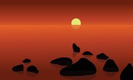 No sunrrise no cenário da praia Fotografia de Stock