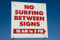 No Surfing Sign Stock Photos