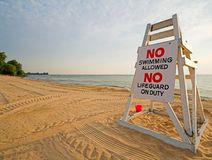 No swimming. Lifeguard chair with sign saying no swimming Royalty Free Stock Photo