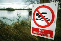 No swimming. A no swimming sign on a murky lake. Moody/haunting ambiance royalty free stock photo