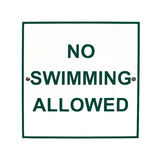 No Swimming Allowed sign Royalty Free Stock Image