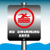 No swimming area plate Royalty Free Stock Photo