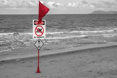 No swimming Danger  red flag on the beach Royalty Free Stock Photo