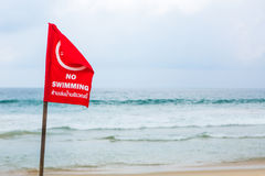No swimming danger sign at the beach Royalty Free Stock Photo